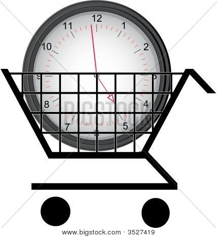 Shopping Cart With Clock.