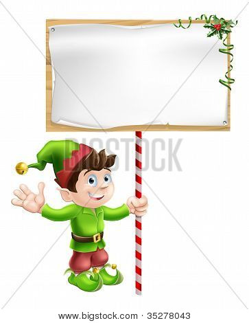 Christmas Elf With Sign