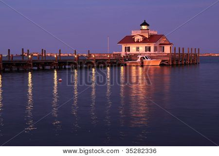 The Roanoke Marshes Lighthouse In Manteo, North Carolina, At Dusk