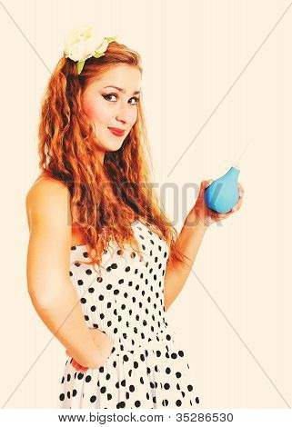 Pretty Pin Up Girl With The Enema, Toned In Retro Style