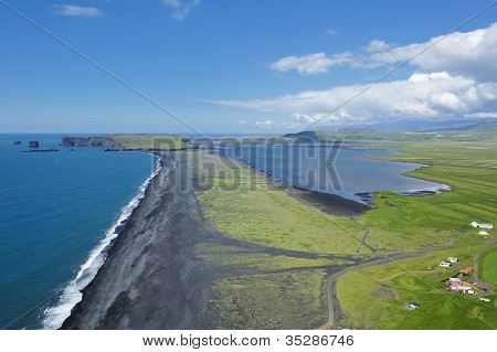 Coast And Black Volcanic Sand, Iceland