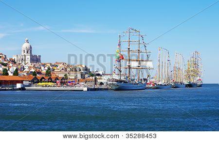 Landscape Of Lisbon And Sailboats