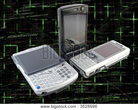 Stack Of Several Modern Mobile Phones With Programming Code Background