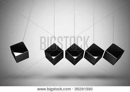 Balancing metallic cubes