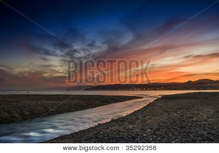 Colourful sunset at the Red sea
