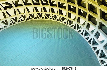 Magic Swiming Pool In Architectural Dome From Top View
