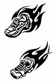 stock photo of insole  - Trainers with tribal flames as a sports tattoo or mascot - JPG