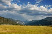 stock photo of abram  - Uncompahgre Valley near Ridgway Colorado late in the afternoon with Mt - JPG