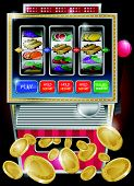 foto of bandit  - vector illustration of a Fruit based gambling - JPG