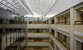 stock photo of plc  - Business center early in the morning quiet