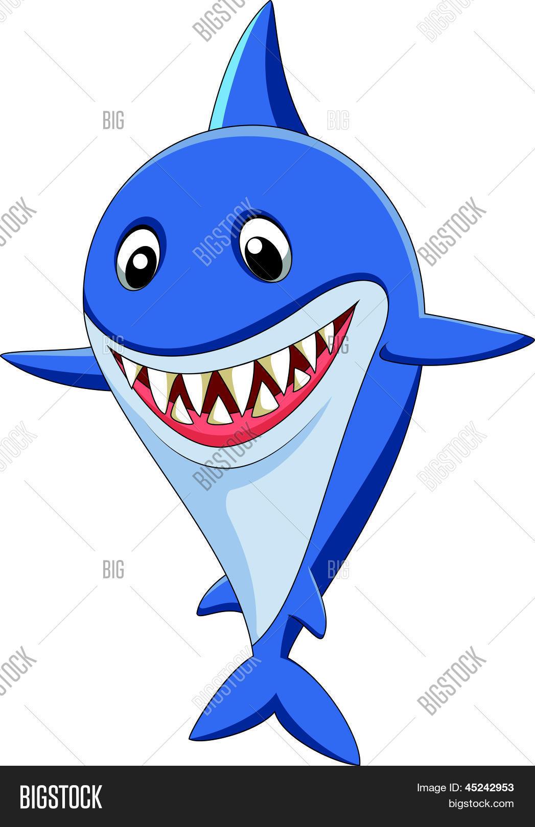 cute shark cartoon vector u0026 photo bigstock