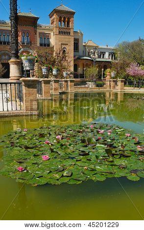 Pond in front of Mudejar pavilion