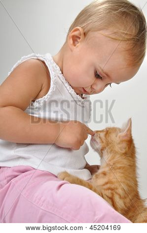 Toddler Child Plays With A Cat