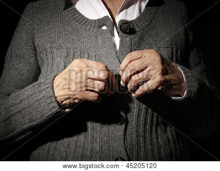 Old Hands Buttoning