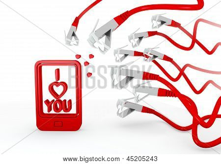 I love you symbol attacked by a cyber network