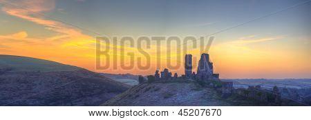 Corfe Castle Winter Sunrise Pre-dawn Colourburst.