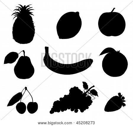 Set Of Vector Illustration Fruit Black Silhouettes