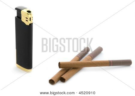 Stylish Black Pocket Lighter And Brown Cigarettes