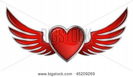 Red Heart With Angel Wings On White Background Vector Illustration