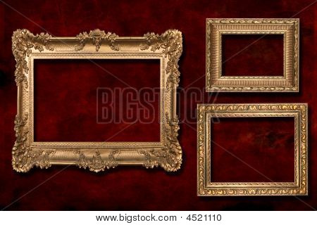 3 Gold Frames Against A Grunge Background
