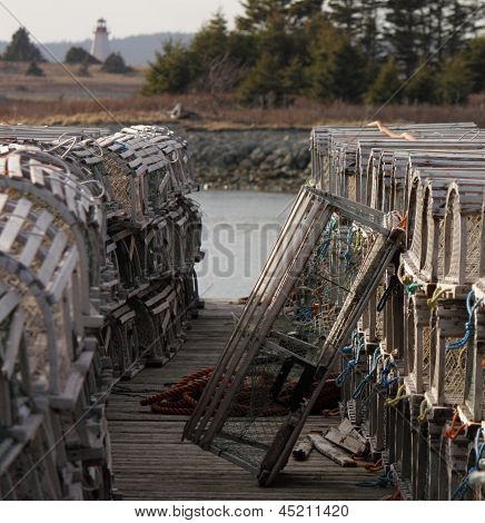 Stacked Lobster traps