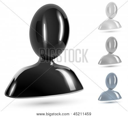 Abstract user black, white and gray glossy icons isolated on white background.