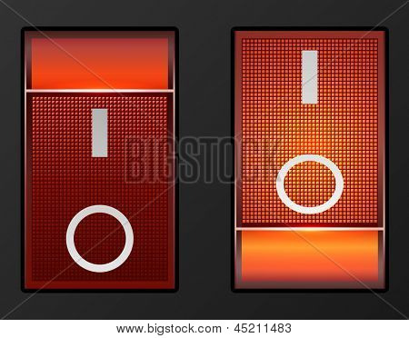 Red light electric switch vector button isolated on white background.
