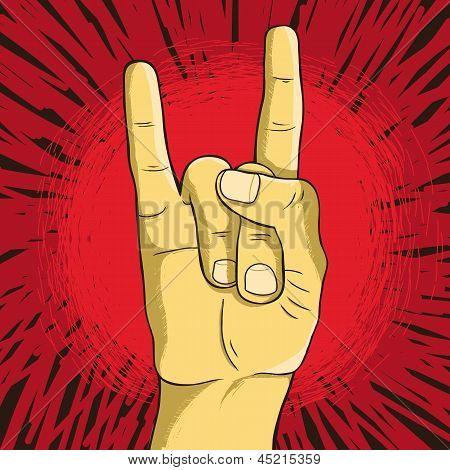 Vector Rock N Roll Symbol - Human Hand - Gesture