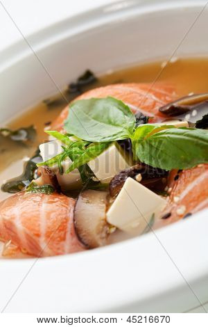 Japanese Cuisine - Miso Soup with Salmon, Seaweed and Tofu Cheese