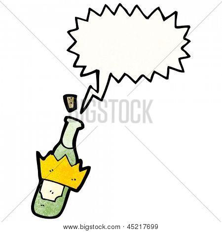 cartoon bottle popping cork