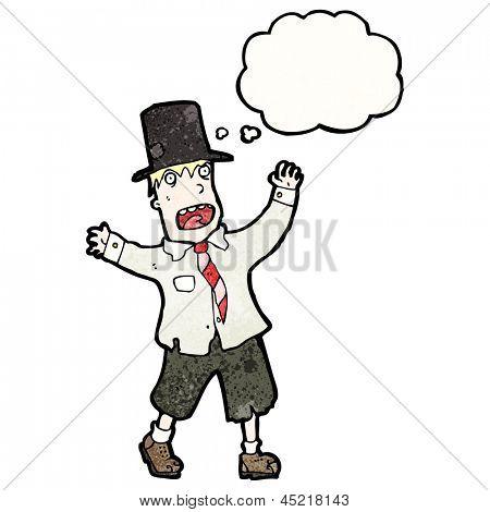 cartoon crazy hobo man in top hat