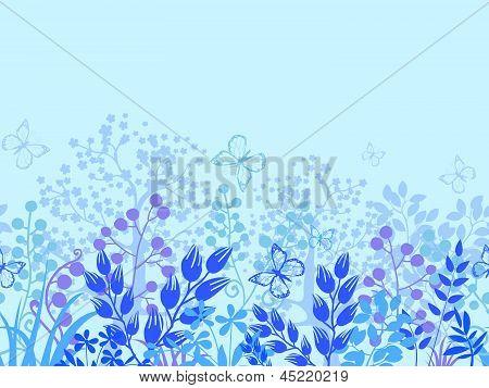 Misty plants horizontal seamless pattern border background