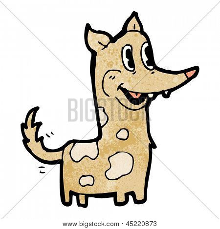 happy retro cartoon dog wagging tail