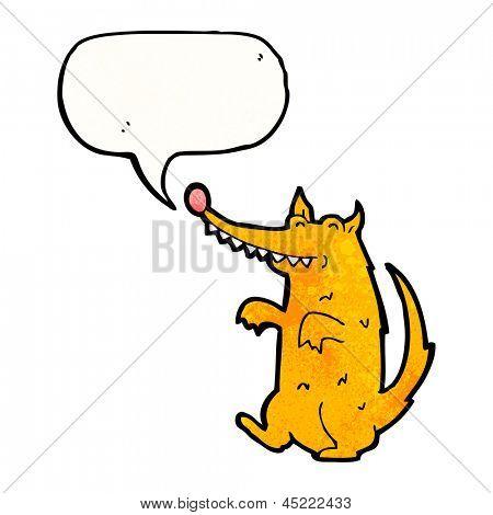 cartoon scruffy dog with speech bubble