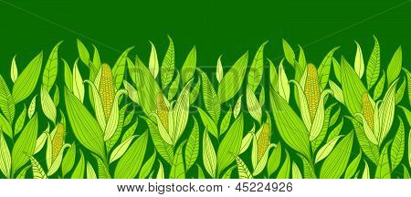 Corn plants horizontal seamless pattern background border