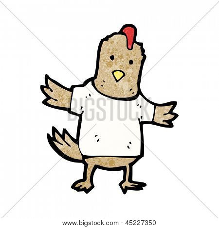 cartoon chicken in tee shirt