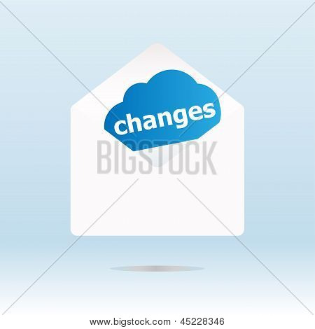 Changes Word On Blue Cloud On Open Envelope