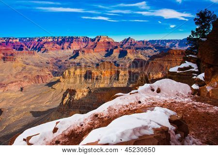 Snow-Capped Hiking Trail in World Famous Grand Canyon National Park, Arizona, United States