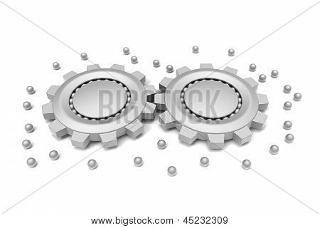 Gears and ball bearings connected