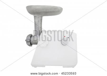 Modern electric meat grinder under the white background
