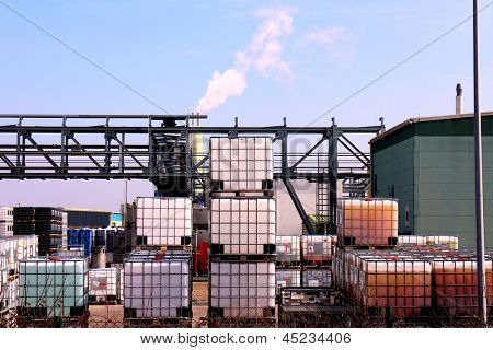 Drums and container in a factory and chemical warehouse