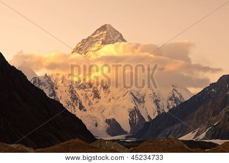 K2 in Pakistan At Sunset