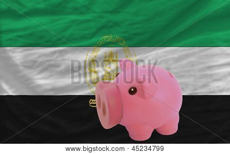 Piggy Rich Bank And  National Flag Of Afghanistan