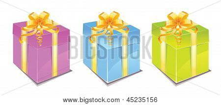 Vector illustration of Set of colorful gift boxes with bows