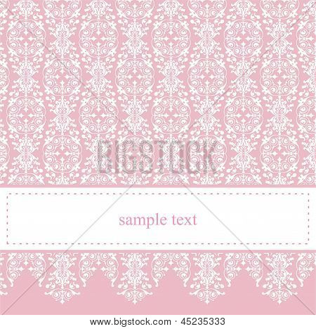 Sweet, pink vector invitation card for party, birthday, baby shower with white classic elegant lace