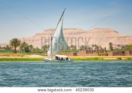 Faluka on the Nile river in Luxor, Egypt
