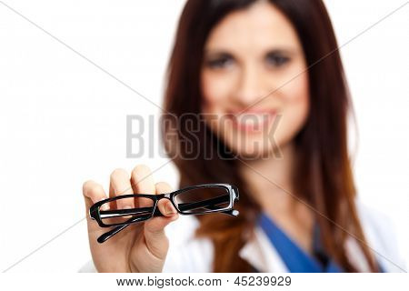 Female oculist giving you a pair of glasses