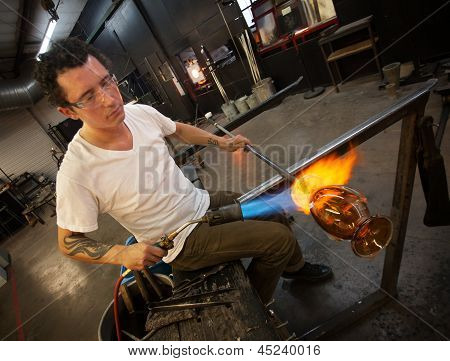 Adult Glass Artist Working