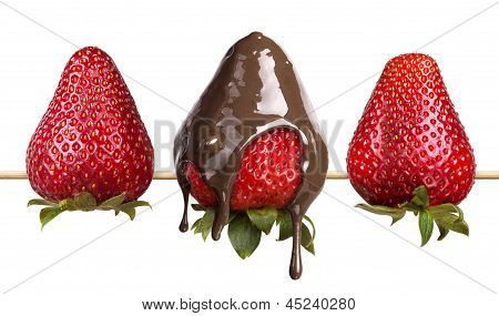 Strawberries And Chocolate Isolated