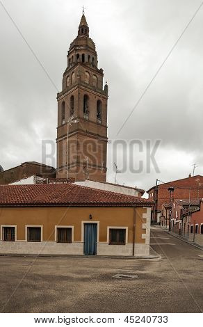 Street of Alaejos with tower bell